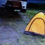 バス広場とテント